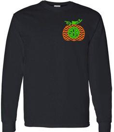 Chevron Monogram Pumpkin Adult Long Sleeve T-Shirt, Halloween Monogram Clothing, Chevron Pumpkin by VinylDezignz on Etsy https://www.etsy.com/listing/204283121/chevron-monogram-pumpkin-adult-long