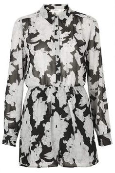 **Mono Floral Chiffon Shirt Button Up Playsuit by Oh My Love