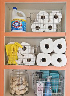 Elsie's Laundry Room Tour - A Beautiful Mess Medicine Cabinet Organization, Laundry Room Organization, Paper Organization, Laundry Pods, Laundry Sorting, Garage Laundry Rooms, Mud Rooms, Organizing Wires, Organize Cleaning Supplies