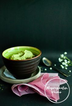 Matcha jäätelö (G, M, V) Matcha, Nice Cream, Peanut Butter, Ethnic Recipes, Blog, Blogging, Nut Butter