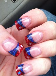 My rodeo nails for 2013.  Red and  blue glitter with silver stars.  Nail art design.