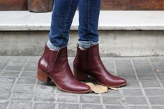 burgandy mid chelsea boot