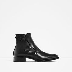 ZARA - MAN - LEATHER THREE BUCKLED ANKLE BOOTS