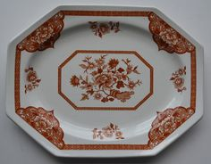 Vintage Royal Staffordshire Old Pekin Brown Ironstone Platter J & G Meakin Turkey Plates, Small Tray, Fruit Plate, Burgundy And Gold, Vintage Sewing Patterns, Chinoiserie, Oriental, Platter, Shapes