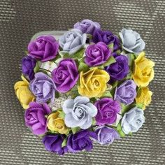 Prima Flowers Mini Sachet Pansy Paper Roses with Stems - Item 565978 - Embellishments for Scrapbooking, bouquets, millinery