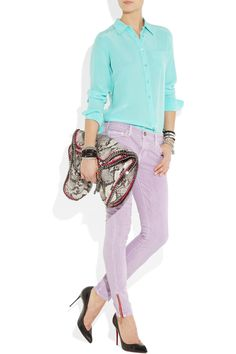 Mauve skinny jeans with a red ankle zip - super cool