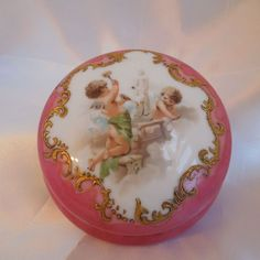 Antique Limoges ~Tressemann & Vogt ~ Hand Painted Porcelain~ Cherub Powder Box