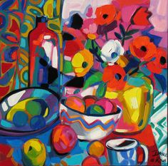Morning Flowers Bright Colors Art, Rainbow Colors, South African Artists, Africa Art, Morning Flowers, Still Life Art, Applique Quilts, Illustration Art, Illustrations