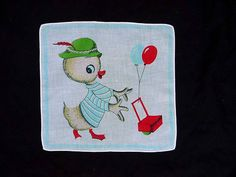 """1940's Child's Handkerchief Hankie Dressed Duck Balloon Vender Pushing A Red Cart Vintage Printed Cotton Novelty Hanky 10"""" By 9"""""""