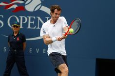 Andy #Murray (GBR)[3] hits a backhand to Tomas #Berdych (CZE)[6] at the 2012 US #Tennis Open. - Philip Hall/USTA