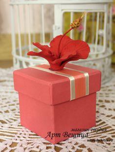 коробочка для подарка с гибискусом Container, Clay, Deco, Clays, Decor, Deko, Decorating, Decoration, Modeling Dough