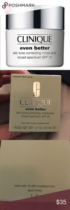 Clinique even better moisturizer Clinique even better skin tone correcting moisturizer. Great for very dry to dry combination skin tones. Virtually erasing discolorations. This cream creates a more even skin tone. New, fresh, never used and 100% authentic. New in box Clinique Other