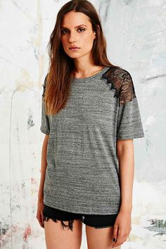 Pins & Needles Lace Insert Tee in Grey