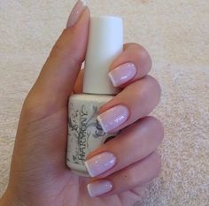 BEST looking French manicure ever. The perfect nude pink and thin white line.