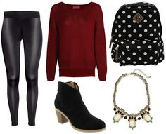 oversized sweater. burgundy. leather look leggings. ankle boots. college fashion.