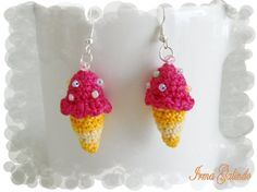 Crocheted Ice Cream Cone Earrings by iworkartwork on Etsy, $12.00