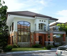 These 2 story house collection features 28 stunning beautiful designs of houses from 2 to 5 bedrooms. 2 Story House Design, House Front Design, House Design Photos, Modern House Design, 5 Bedroom House Plans, Duplex House Plans, Bungalow House Plans, Modern House Plans, Modern House Facades