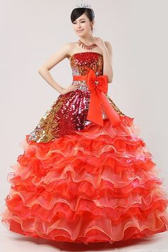 Luxurious Ball Gown Strapless Layered Orange Quinceanera Dress