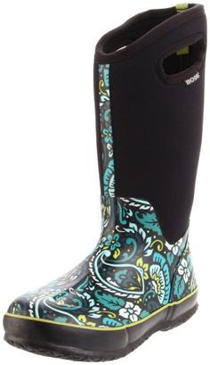 Bogs Women's Classic High Tuscany Rain Boot: http://www.amazon.com/Bogs-Womens-Classic-High-Tuscany/dp/B004KKZ056/?tag=alanal-20  I work in a child care centre and we play outside typically for 2 hours a day - whether it's nice weather, rainy, snowy, or not. These boots have been incredible the past couple of weeks since I got them! They are warm, completely waterproof and extremely comfortable!