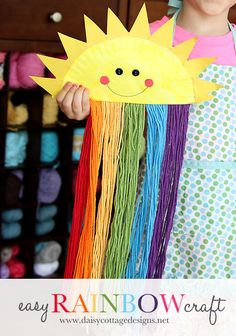 Easy Paper Plate Sunshine Craft {Rainbow Craft for Kids}