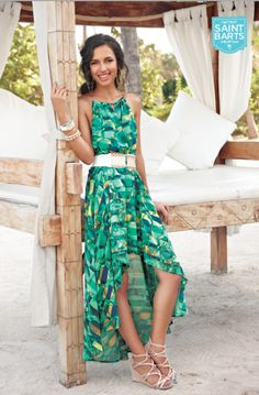 Get the Look: Isle-Style featuring mark's Island Elegance Maxi Dress, The White Approach Belt, Strappy Pretty Demi Wedges and Glimmer & Gleam Bracelets! #instantvacation