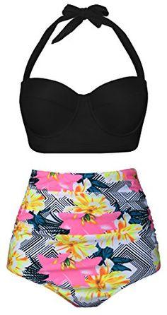 e326ad65d32f3 Women Vintage Polka Dot High Waisted Bikini Set Two Piece Swimsuits (Womens  Size)