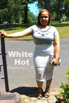 White Hot. White lace pencil skirt. Grey embellished tee. Black lace up heels. Kate spade learn the hustle book clutch. Plus size fashion blogger. Curvy fashion.