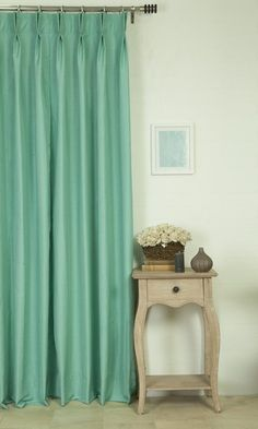 'WESTON SEAFOAM BLUE' MADE TO MEASURE DRAPES $46.00  https://www.spiffyspools.com/collections/silk-curtains/products/weston-seafoam-blue-curtains?variant=1821065543704