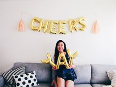 CHEERS letter balloons gold foil mylar letters by OhShinyPaperCo
