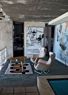 """""""The main reason for French photographer Jean-Marc Lederman to buy this house near the town of Llandudno on the Cape of Good Hope in South Africa was the breathtaking view from the windows. Industrial Interior Design, Industrial House, Contemporary Interior, Kitchen Industrial, Urban Industrial, Industrial Bedroom, Industrial Lighting, Modern Lighting, Lighting Ideas"""
