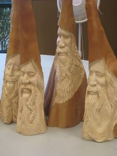 Simple Wood Carving, Wood Carving Faces, Wood Carving Designs, Tree Carving, Wood Carving Art, Wood Art, Whittling Projects, Whittling Wood, Cypress Knees