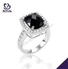 Black stone charming beauty silver engagement rings australia
