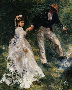 Born on this day Pierre-Auguste Renoir (French 1841–1919) [Impressionism] The Promenade, 1876.