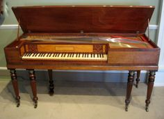 A fine Regency period mahogany cased square piano by John Broadwood and Sons No 17137. Banded in rosewood with a satinwood name board, and raised on reeded tapering legs and original castors. London. Circa 1812.