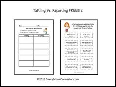 FREE Download- Tattling Vs. Reporting (Type-o corrected!)