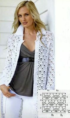 """Crochet image """"White crochet long cardigan from AsDidy This crochet cardigan is so elegant and will make you look stunning!"""", """"Crochet patterns for swea Gilet Crochet, Crochet Coat, Crochet Jacket, Crochet Cardigan, Crochet Shawl, Crochet Clothes, Crochet Stitches, Crochet Patterns, Long Cardigan"""