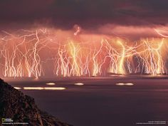"""From the photographer- """"Fire in the sky! This is an image sequence containing 70 lightning shots, taken on Ikaría island, Greece, during a severe thunderstorm that took place June 16, 2011. In order to make the sequence, I set the camera to a tripod taking 20-second shots. After 83 minutes I ended up with this wall of lightning!"""""""