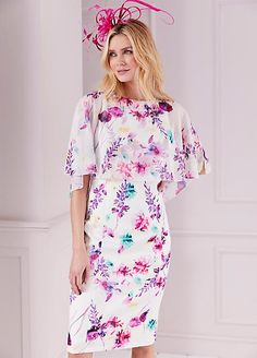 One by Kaleidoscope Floral Scuba Dress with Shimmer Chiffon Fabric Cape