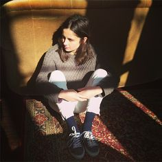 sweater/top + pants + high socks + sneakers/converse (style - high socks & sneakers & pants)