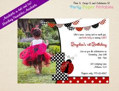 Ladybug Birthday Invitation Lady Bug by PartyPaperPrintables