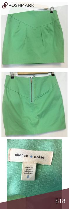 """Silence & Noise Urban Outfitters Mint Green Skirt Silence & Noise Urban Outfitters Size 8 Mint Green Mini Skirt Exposed Zipper   Measured Laying Flat   Waist - 14.5"""" Length - 16.5"""" Urban Outfitters Skirts Mini"""