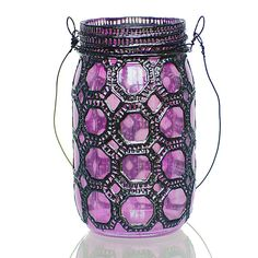 Hand Painted Mason Jar Lantern, Violet Glass with Gunmetal Accents.