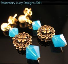Swarovski brass n gold post earrings by RosemaryLucyDesigns, $24.00