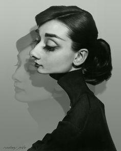 Rodney Pike Humorous Illustrator: Audrey Hepburn II In Grayscale