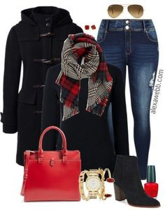 Plus Size Plaid Scarf Outfit - Plus Size Fashion for Women - alexawebb.com #alexawebb