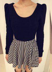 $9.11 Ladylike Scoop Neck Ruffled Houndstooth Long Sleeves Dress For Women