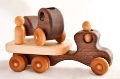 Wooden Toy Flatbed Truck And Kids First Car In Walnut And Cherry (montessori…