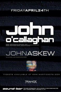 Next Friday Trancemission Chicago at Sound-Bar, John O'Callaghan & John Askew! Serious uplifting! #ChiTranceFamily #TranceFamily