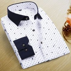 Men Polka Dot Printed Fashion Slim Long Sleeve Shirts Casual Polyester Dress Shirt 19 Color - Loluxe - 19