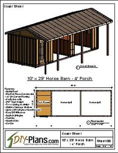 Loafing Shed Plans Horse Shed, Horse Barn Plans, Horse Tack, Shed Floor Plans, Shed Plans, Small Barn Plans, Small Horse Barns, Barn Layout, Barn Stalls